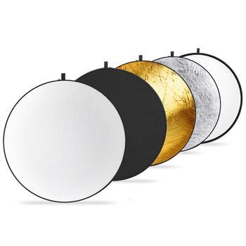 Neewer 50 centymetrów składany reflektor 5 w 1 Multi Disc Photo reflektor 19 6 cal przenośne okrągłe światło dyfuzor fotografia tanie i dobre opinie CN (pochodzenie) 10091601 ROUND gold silver translucent black and white