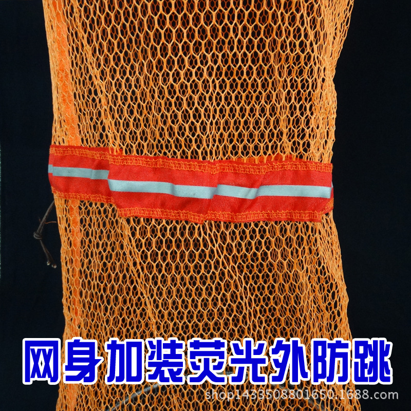Stainless Steel Double Steel Ring Fish Basket Gelatinization Fish Net With Bag Rubber Hanged Shuanghuan Multi-Directional Positi