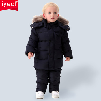 IYEAL Russia Winter Warm Children Clothing Sets for Boys Natural Fur Down Cotton Snow Wear Windproof Ski Suit Kids Baby Clothes 3 6t russia winter keeps warm snow kids girls clothes big fur hats down romper girls catsuit outdoor overalls for boy kids