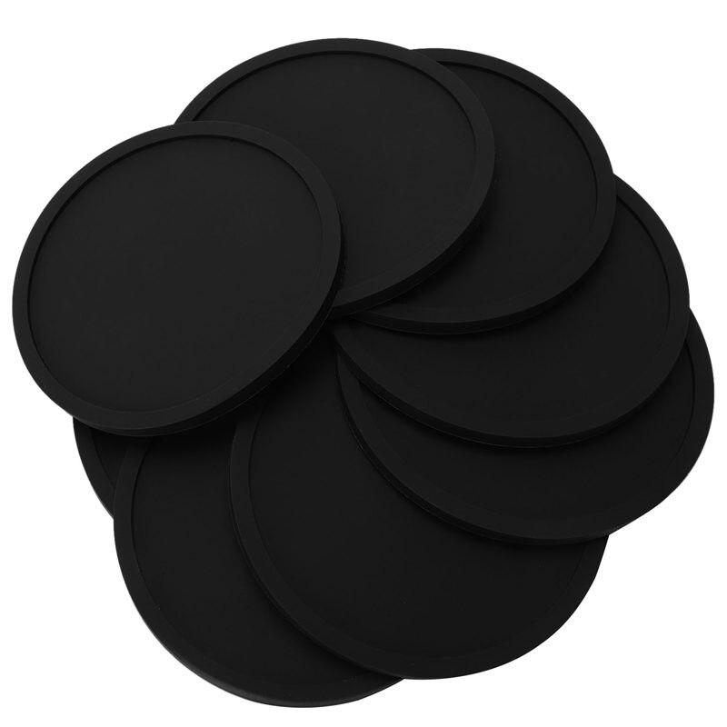 Силиконовые черные подставки для напитков набор из 8 нескользящих круглых мягких гладких и прочных легко чистящих черных