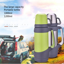 High grade Thermos cup large capacity travel kettle 1200ml portable adult 1000ml outdoor thermos 1 liter