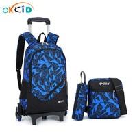 3pcs wheeled school backpacks for boys children school bags blue schoolbag trolley bag on wheels backpack for boy pen pencil bag