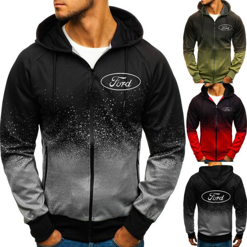 Unisex Fashion Jackets Ford Logo Zippers Hoodies Outdoor Sweatshirt 3D Gradient Sportswear Ford Zipper Cardigan Coat