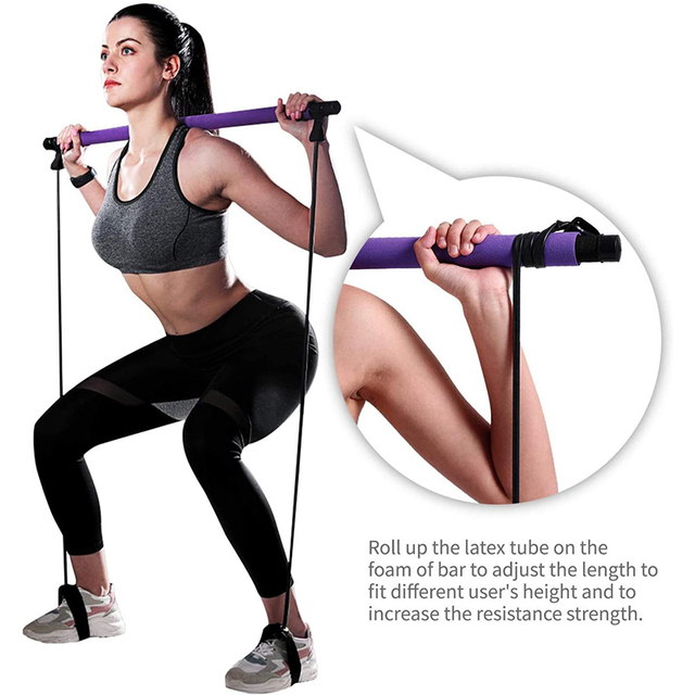 New Fitness Yoga Pilates Bar Stick Crossfit Resistance Bands Trainer Yoga Pull Rods Pull Rope Portable home Gym Body Workout 4