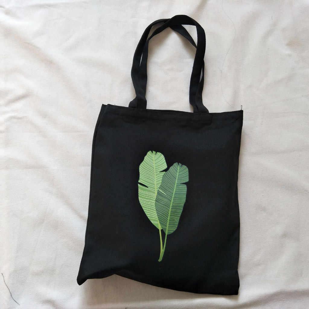 Handle คุณภาพสูงยอดนิยม Messenger กระเป๋าขายร้อน 2019 ใหม่แฟชั่นผู้หญิงผ้าใบการพิมพ์กล้วย Leaf ไหล่กระเป๋า