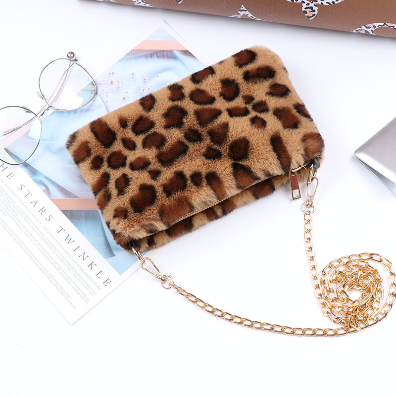 Faux Fur Purses And Handbags Women Autumn Winter Plush Crossbody Bag Female Small Wallet Chain Shoulder Bag