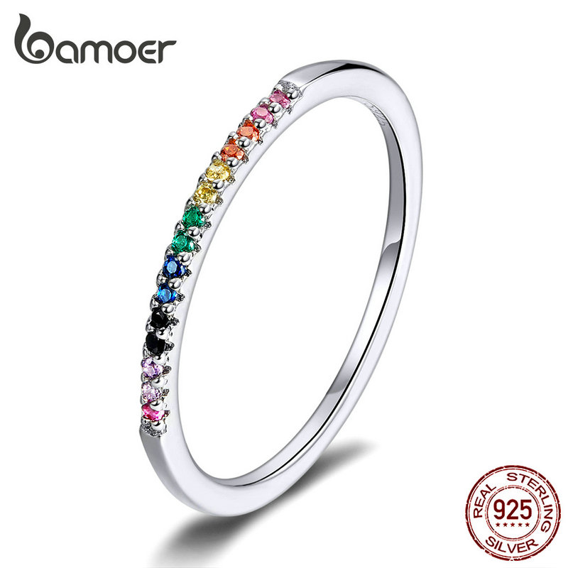 bamoer Rainbow Color CZ Finger Rings for Women Stackable Match Joker Wedding Statement Sterling Silver 925 Jewelry SCR583(China)