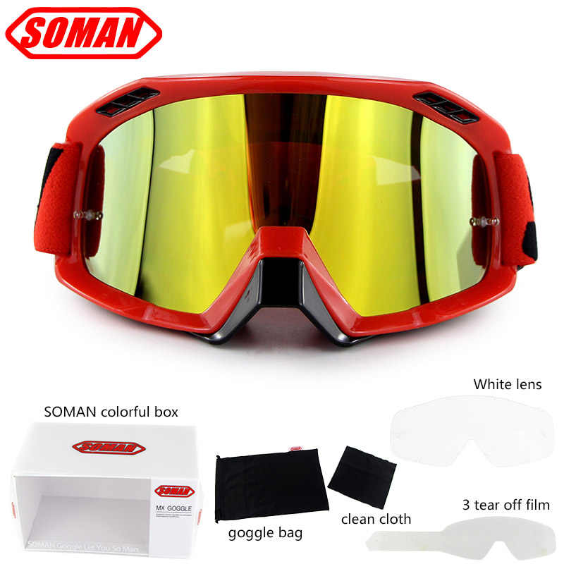 Motorcycle Goggles Sports Safety Glasses Bendable Dirt Bike Motocross Clear Lens