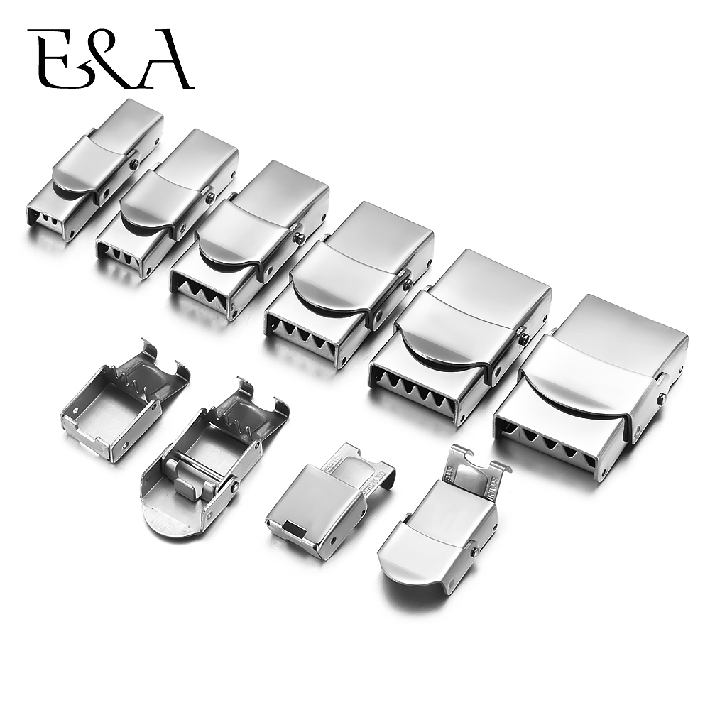 10pcs Stainless Steel Clasp Crimp Jaw Hook Watch Band Clasp For Leather Silicone Bracelet Jewelry Making DIY Connect Lace Buckle