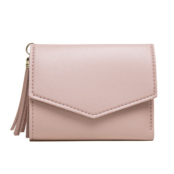 DOLOVE Short Wallet Female Korean Version of The Tassel Small Wallet Simple Square Simple Wallets Ladies Coin Purse Mini Bag 1