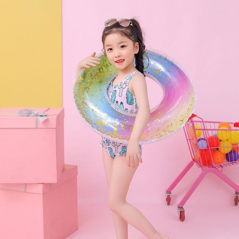 Children's Colorful Sequin Rainbow Swimming Ring Summer Inflatable Swimming Float Tube Circle Pool Sequin Pool Toy
