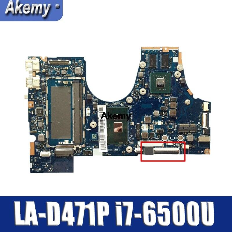 BIUY2_Y3 LA-D471P For Lenovo   710-15ISK Laptop Motherboard FRU:5B20L47333 SR2EZ I7-6500U DDR4 100% Tested