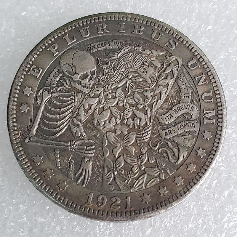 Moneda de copia chapada en plata con calavera de zombi esqueleto de dólar de 1921
