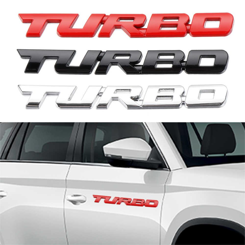 1PCS 3D Metal Turbo Emblem Sticker Car Body Rear Fender Badge Replacement For Universal Cars Black