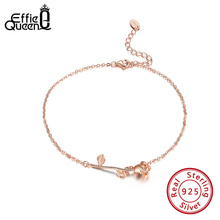 Anklet Effie Queen Sandals Jewelry Girls Women 100%925-Silver Rose for Summer Beach-Leg