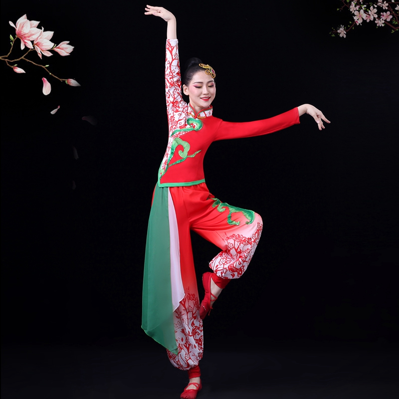 Yangge Costume Costume Female Middle-aged And Elderly Lantern Waist Drum Team Costume Square Dance Suit Classical Dance Clothes