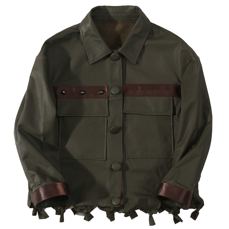 Natural Leather Jacket Dark Green Vintage Short Jacket Coat For Women Lambskin Coats Genuine Leather Jacket 2020