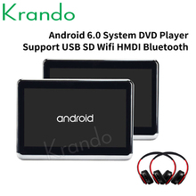 Krando 10.1 Polegada android 6.0 encosto de cabeça do carro dvd monitor player hd 1080p vídeo com wi-fi/hdmi/usb/sd/fm transmissor