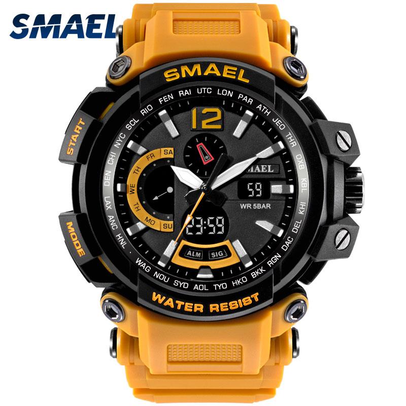 Quartz Wristwatches Leather SMAEL Brand Analog Digital LED Clock Men Waterproof Relogio Masculino1702 Men Watches Sport Military