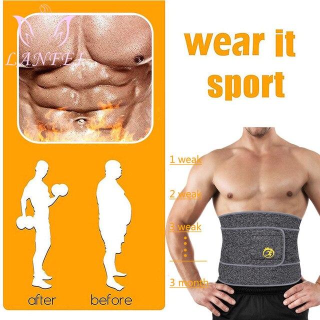 LANFEI Hot Noeprene Slimming Sweat Belt Men Belly Waist Trainer Weight Loss Corset Sauna Body Shaper Sport Workout Strap Fajas 1