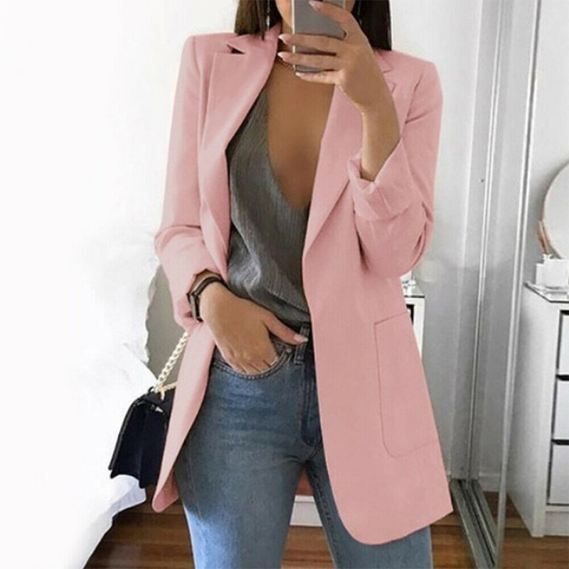 15 Colors Slim Blazer Career Plus Size Jacket Outwear Top Long Coat Casual Women