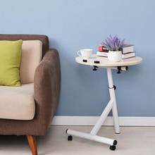 Mesa de centro de elevación extraíble con ruedas mesa de té cama redonda sofá mesa auxiliar escritorio ángulo de altura ajustable pequeña mesa