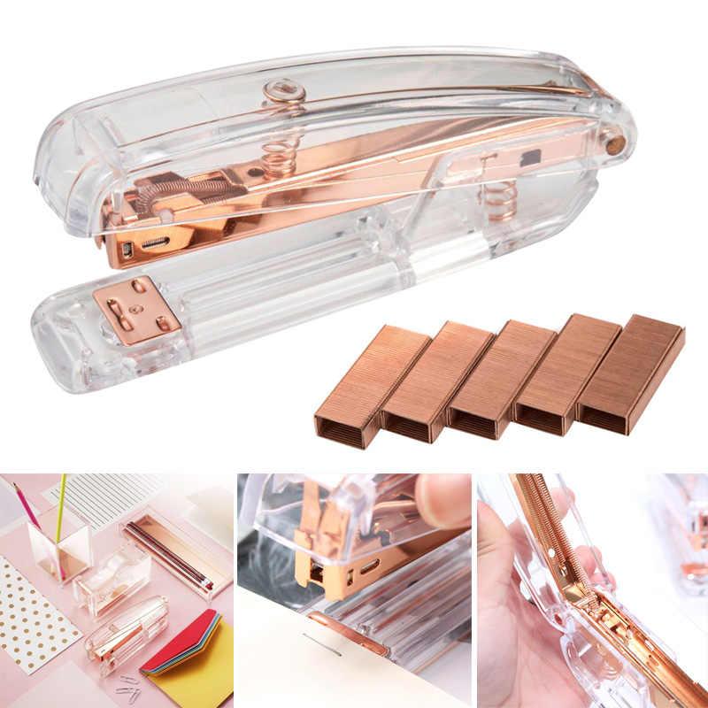 Ouro rosa de alta qualidade plástico transparente grampeador escritório estudo máquina de ligação du55