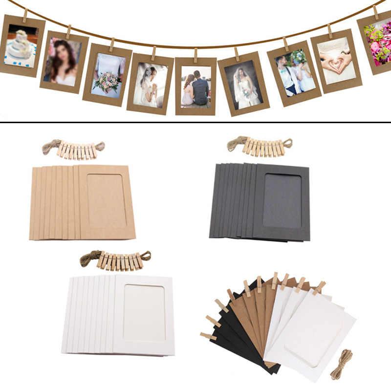 ใหม่ 10PCS DIY กรอบรูปไม้คลิปกระดาษภาพผู้ถือตกแต่งสำหรับงานแต่งงาน 2019 Graduation PARTY Photo Booth props