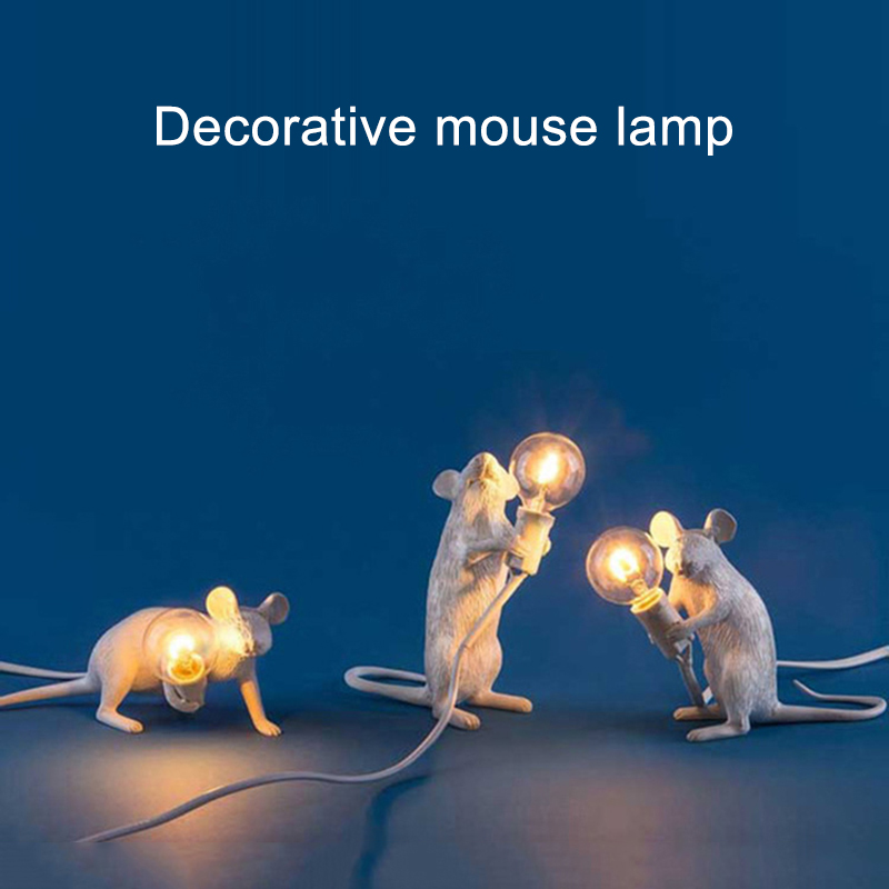 Table Lamp Mouse Shape Resin Desk Light Bedside Lamp Light Home Room Decor DAG-ship