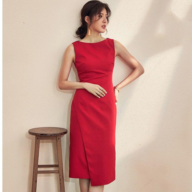 Ozhouzhan 2019 Summer Sleeveless Red Dress Dress Women's Spring And Summer New Style Medium-length Slim Fit Ol Step Wrapped Skir