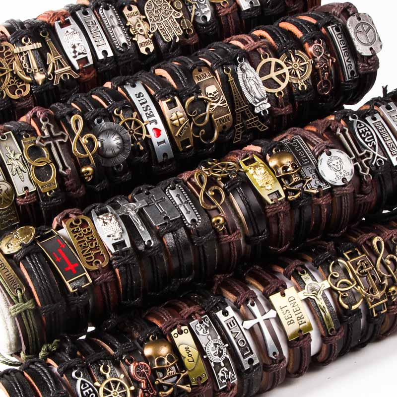 Wholesale 50pcs Lot Leather Metal Charm Bracelets For Men Vintage Wrist Cuff Bracelets For Women Gifts Jewelry Mix Style in Cuff Bracelets from Jewelry Accessories