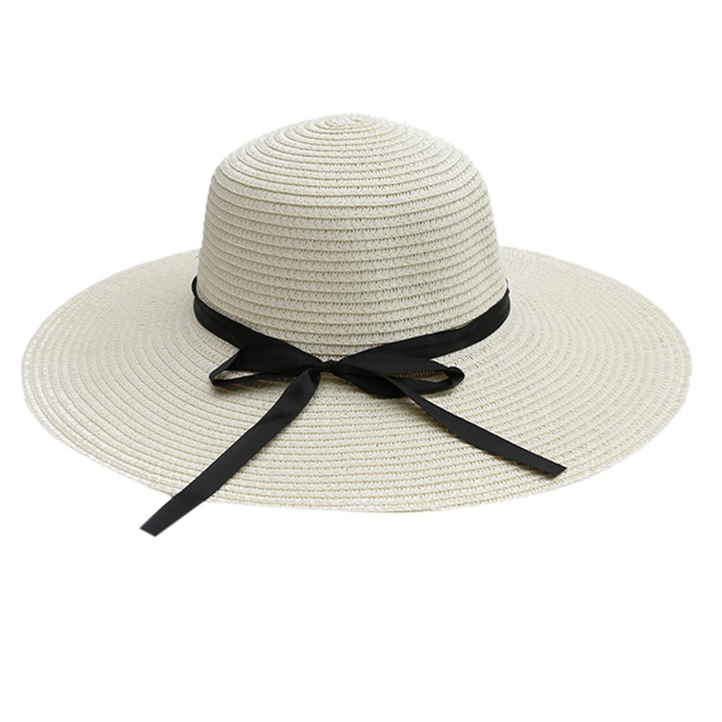 Hat Woman Summer Straw Hat Women Big Wide Brim Beach Hat Sun Hat Women Cap Sun Block UV Protection Female #D8