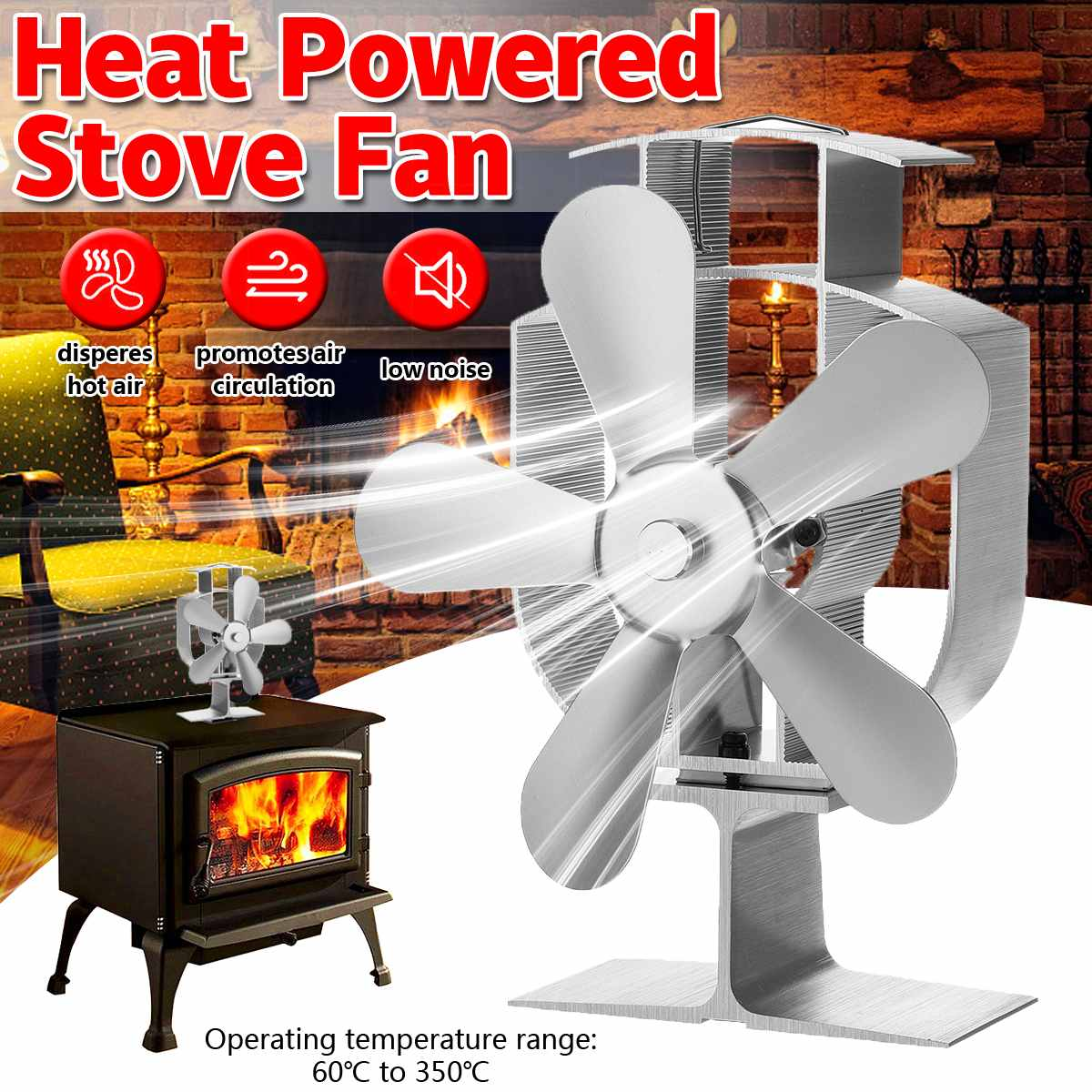 Stove Fan 4 Blade Fireplace Fan Heat Powered Komin Wood Burner Eco Fan Friendly Quiet Home Efficient Heat Distribution Silver