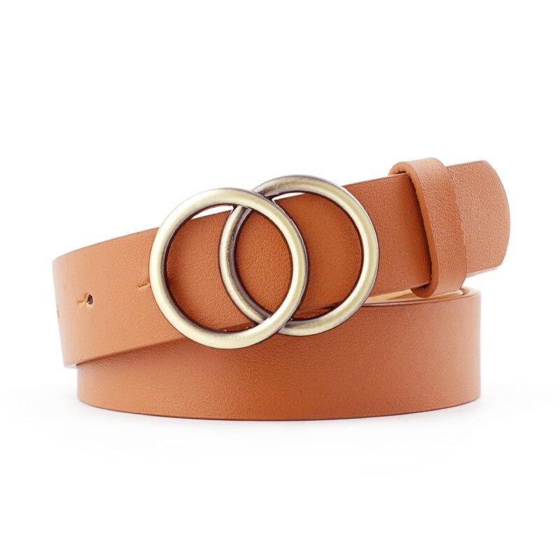 Мягкая искусственная кожа, двойное кольцо, пряжка, Ретро стиль, декоративный, Повседневный, подтягивающий, подходит ко всему, легкий, длинный, женский ремень с твердыми отверстиями - Цвет: Camel