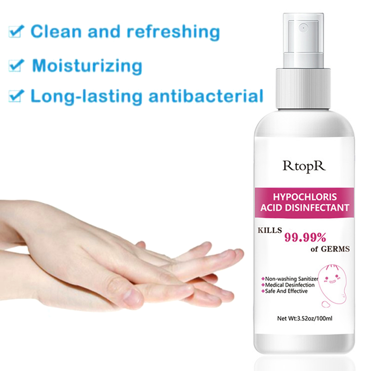 Portable 100ml Hand Skin Disinfectant Alcohol-Free Non-Washing Hand Sanitizer Hand Spray Skin Disinfectant Non-Washing Sanitizer