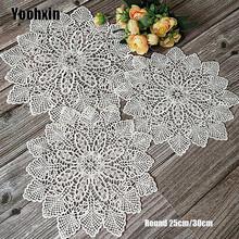 Modern white Lace Round Embroidery table place mat Christmas pad Cloth placemat cup mug dining tea coaster coffee doily kitchen diy retro lace wool placemat cup coaster tea mug coffee kitchen drink table place mat cloth crochet doilies dining felt pad 21cm