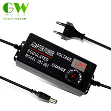 AC/DC Adapter 3-12V 9-24V Adjustable Voltage Lighting Transformers with Display Screen Universal Power Supply EU/US Plug.(China)