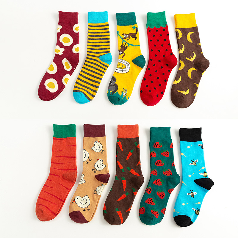 Korea Version Of College Style Couple Tube Socks Wholesale Cartoon Animal Fruit Tide Socks Joker Casual Socks