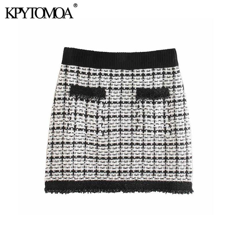Vintage Stylish Beading Appliques Tweed Mini Skirt Women 2020 Fashion A Line Elastic Waist Female Skirt Casual Faldas Mujer