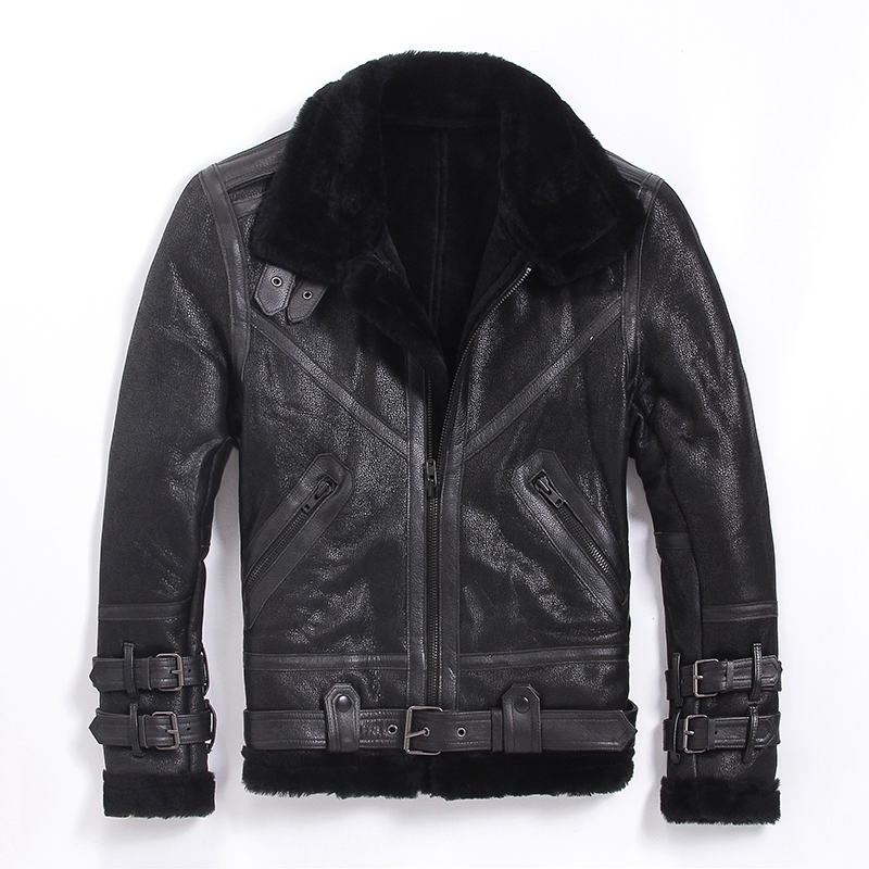 Free Shipping,Quality Sheepskin,motor 100% Shearling,man's Warm Leather Jacket,men's Fur Winter Coat.plus Size Wool Jackets.