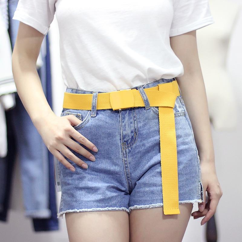 Women Men Student Canvas Belt Smooth Metal Buckle Long Waist Strap Black White Trouser Belts Casual Female Waistband