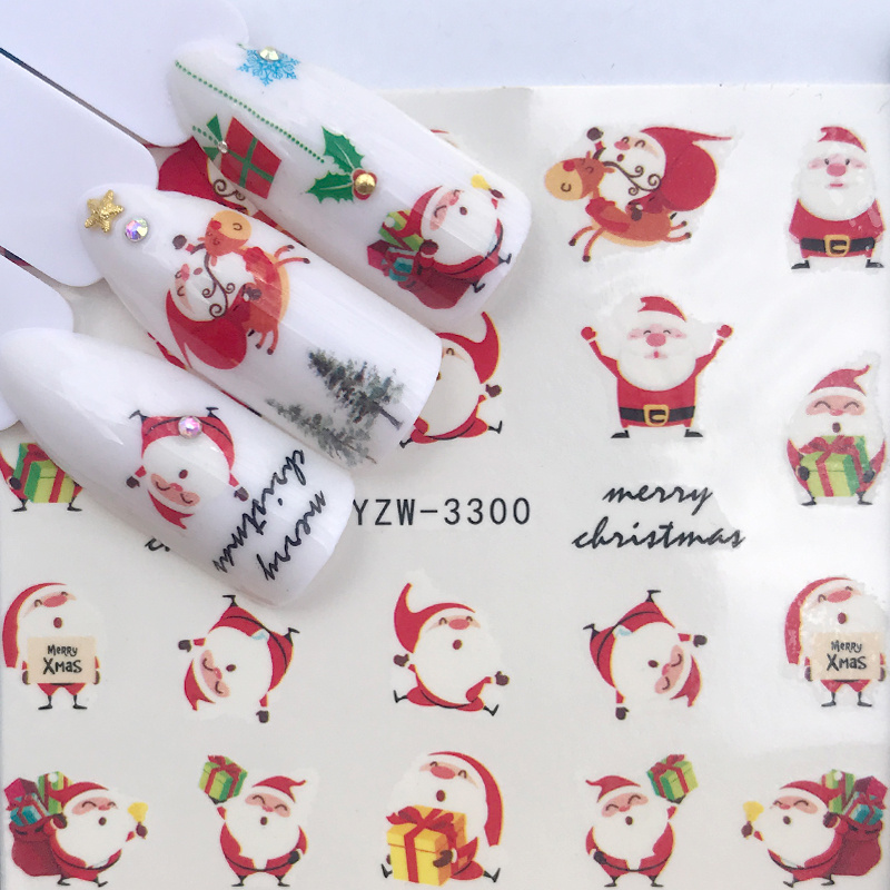1pcs Christmas Manicure Nail Stickers Art Water Autumn Slider Maple Palms Santa Claus Decals Nail Accessories 2019 New Year Gift