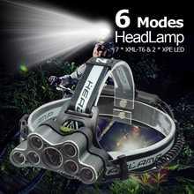 Powerful 9 LED USB Headlamp 25000 LM XML T6 Q5 LED Head Torch Forehead Light Frontal Flashlight 18650 Headlight+USB Cable dui xml t6 powerful usb recharged 3t6 outdoor aircraft led flashlight headlamp