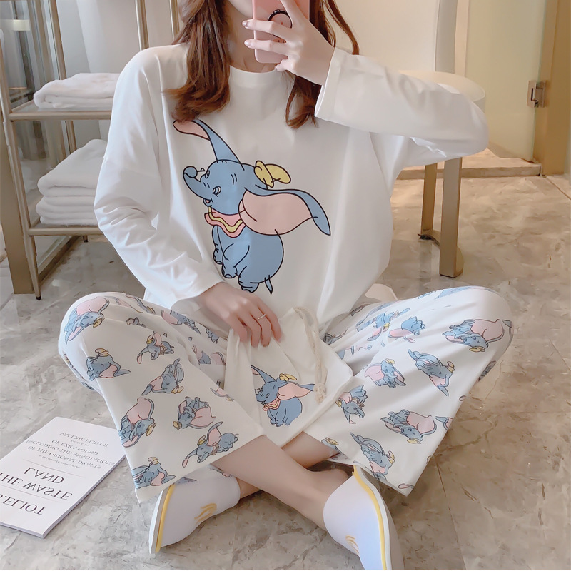 2019 Autumn And Winter Cotton Sweet Cartoon Print Pajamas Women Sexy Lingerie Sets Sleepwear Nightwear 2 Pieces Home Clothing