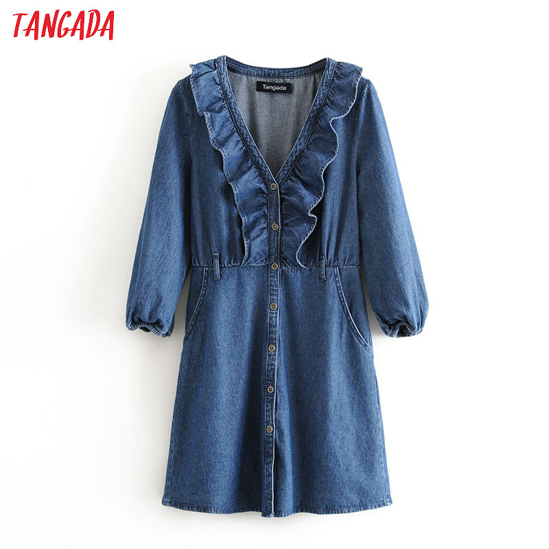 Tangada Fashion Women Blue Denim Dress Ruffles V Neck 2020 New Ladies Vintage Mini Dress Vestidos 3H463