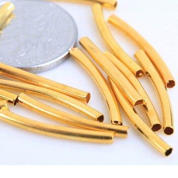 100 Τεμάχια Κράμα Μέταλλο Χρυσό Ασημένιο Καμπύλη Σωλήνας Για Κατασκευή Κοσμημάτων diy