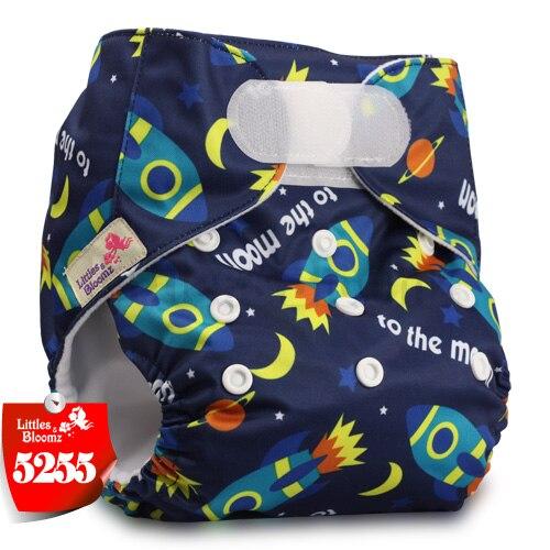 [Littles&Bloomz] Детские Моющиеся Многоразовые, настоящая стандартная ткань, застежка-липучка, карман для подгузников, пеленки, обертывание, подходит для рождения в горшке - Цвет: 5255