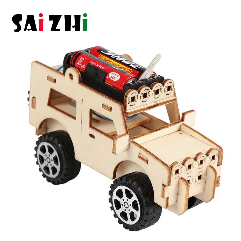 Saizhibaba DIY Kids Puzzle Toys Wooden Technology assembly series School Electric STEM Science Experiment Kits