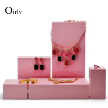 Oirlv New Product Pink  Jewelry Display Table Set Wooden Ring Bracelet Display Stand Earring Pendant  Holder Box for Showcase