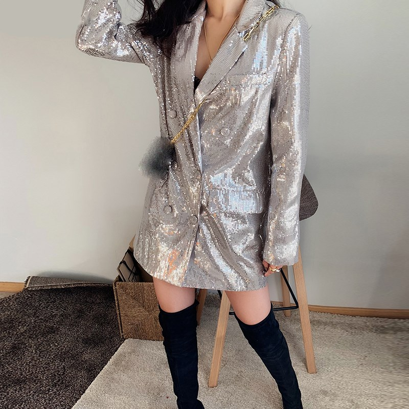 2019 New Casual Silver Sequined Blazer Long Solid Double Breasted Jacket Outwear Loose Notched Long Sleeve Blazer